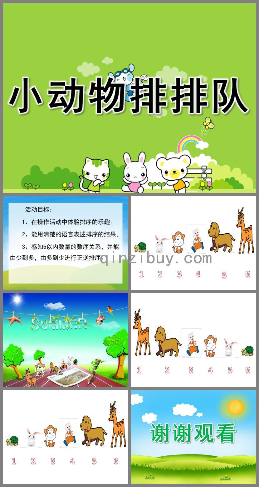 中班数学活动小动物排排队PPT课件