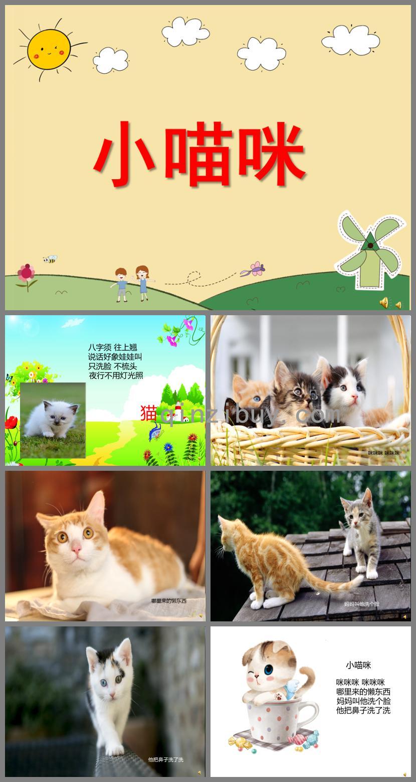 幼儿园动物儿歌小猫咪PPT课件配音音乐