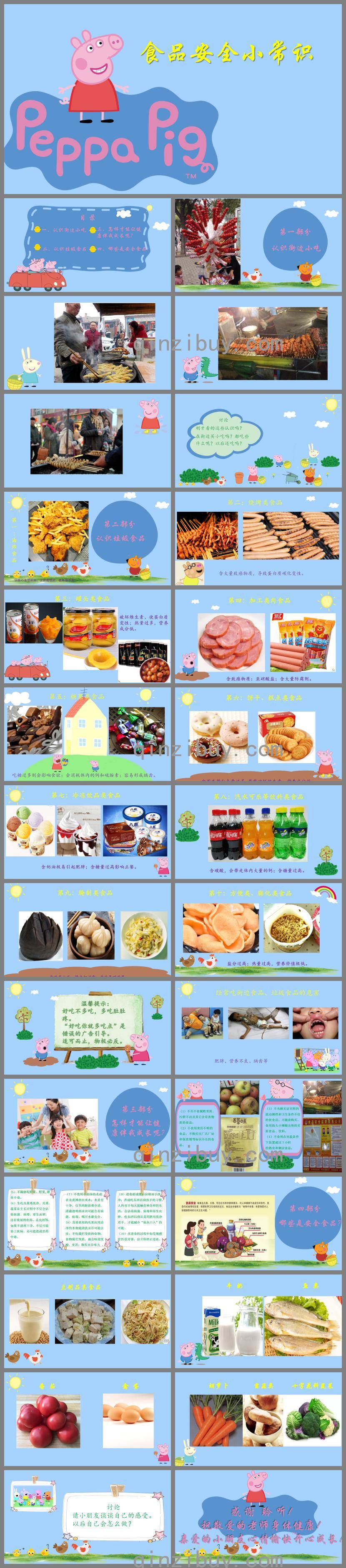 小猪佩奇版幼儿园小班食品安全小常识PPT课件
