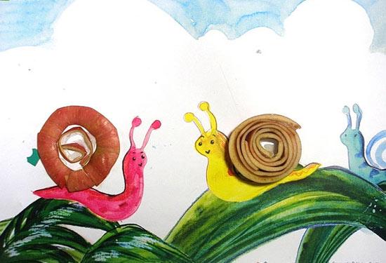 大班美術造型:給蝸牛們蓋房子-幼兒園大班美術教案
