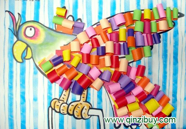 幼儿园大班美术造型教案 鹦鹉的羽毛