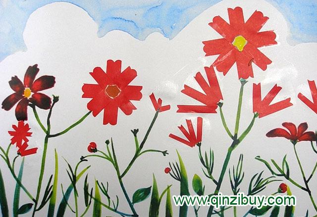 幼儿园大班美术造型教案:蓝天下的波斯菊图片