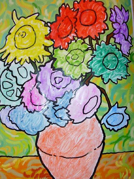 幼儿园大班美术教案:梵高的画-向日葵图片