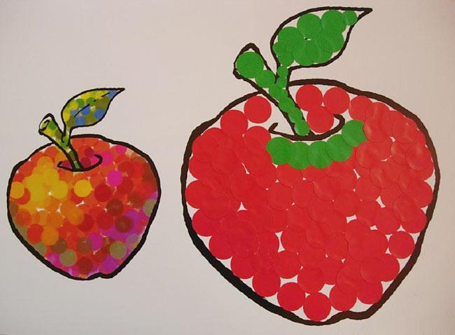 幼儿园大班美术教案:秀拉的画-苹果图片