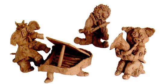 幼儿园大班美术教案陶艺活动:三只小猪