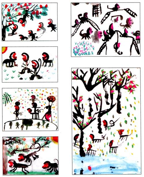 幼儿园大班中国画教案:猴趣—幼儿园大班教案