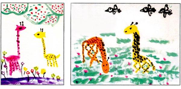幼儿园大班中国画教案:长颈鹿 活动目标 1、通过欣赏,进一步了解长颈鹿的外形特征,感受长颈鹿宁静优雅的姿 2、尝试用侧锋画长颈鹿的脖子,中锋画长颈鹿的身体。 3、能按自己的意愿大胆添画背景。 活动准备 1、幼儿已经观察过长颈鹿,基本了解长颈鹿的外形特征。 2、课件:不同姿态的长颈鹿图片多幅。 3、国画工具材料。 活动过程 1、引导幼儿回顾有关长颈鹿的印象。 (1)欣赏单个的长颈鹿,观察长颈鹿的外形特征。 教师:长颈鹿是什么样子的?它的头是什么形状的?头上有什么?是什么颜色的?长颈鹿的身体是什么形状的?它的