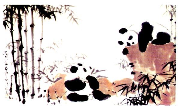 幼儿园大班中国画美术教案:熊猫