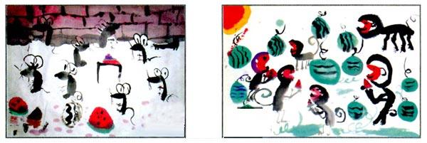 幼儿园大班中国画教案:甜甜的大西瓜 活动目标 1、尝试用先勾线、后填色的方法画西瓜。 2、能够保持正确的握笔姿势作画。 活动准备 1、西瓜实物、图片。 2、国画工具材料。 活动过程 1、出示实物西瓜,引导幼儿观察、了解西瓜的主要特征。 (1)观察实物西瓜。 教师:西瓜是什么样的?是什么颜色?上面还有什么?西瓜里面是什么样的? 教师小结:西瓜是圆圆的,大大的,绿色的,上面有深浅不同的绿色花纹。西瓜里面有红色的瓤,上面还有一粒粒黑色的子。 (2)欣赏西瓜图片,了解西瓜有多种不同的品种。 教师:你还见过其他不同