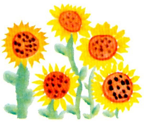 幼儿园大班中国画教案:向日葵 活动目标 1、尝试用中锋画圆、侧锋染色的方法画出向日葵的花盘。 2、继续运用点按的方法创作大面积的向日葵。 3、在创作结束后,能将笔、调色盘等洗于净,并放回指定位置。 活动准备 1、幼儿已认识过向日葵。 2、课件:有远近变化的向日葵图片多幅。 3、大小不一的毛笔若干支,宣纸,黄、绿、褐等国画颜料。 活动过程 1、师幼共同欣赏向日葵图片,感受大面积的向日葵给人带来的视觉冲击效果。 教师:画上有什么?是什么颜色的?是什么样子的?像什么?花瓣是什么颜色?什么形状?花蕊又是什么样子、