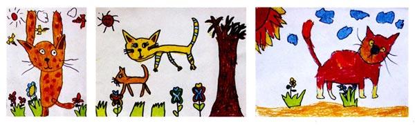 幼儿园大班画画教案设计:喵喵王国 活动目标 1、根据背景中的故事情节,尝试画出不同形态的猫。 2、通过欣赏图片、动作表演等形式,感受与体验不同形态的猫的表现方式。 3、愿意与同伴共享作画空间,知道互相协调、谦让。 活动准备 1、幼儿欣赏过关于猫的图书,如《11只猫做苦工》、《活了一百万次的猫》、《小猫钓鱼》等,在图书中重点欣赏猫的五官特点;幼儿已经会画猫的头部;有条件的班级可以组织幼儿观看《猫》的科学片,进一步了解猫的生活习性;组织幼儿将废旧图书中自己喜欢的小玩具、房子、花、草、树剪下备用。 2、教师自