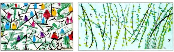幼儿园大班画画教案设计:奇妙的点和线 活动目标 1、通过观察、讨论、归纳,初步感受作品的内容与意境,体会点和线在吴冠中作品中的巧妙运用。 2、尝试运用点、线大胆创作,能较好地表现自己喜欢的事物。 3、能与同伴共同完成一幅圈画作品,体验合作绘画的乐趣。 活动准备 1、 幼儿已经初步了解吴冠中及其作品风格,有基本的用毛笔创作的经验。 2、课件:吴冠中作品多幅,幼儿的点线作品多幅。 3、国画工具材料。 活动过程 1、欣赏三幅吴冠中的作品,感受画面的内容与意境。 教师:吴冠中是著名的国画大师。今天老师带来了几幅他