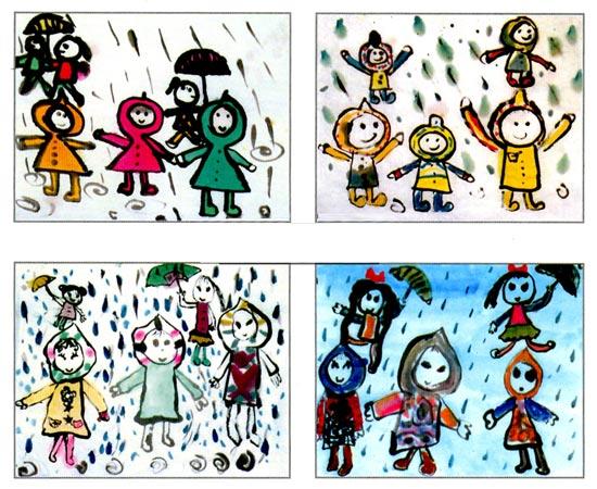 幼儿园大班画画教案:下雨天—幼儿园大班美术教案