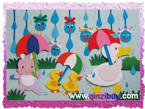 幼儿园春天主题墙:喜迎春雨