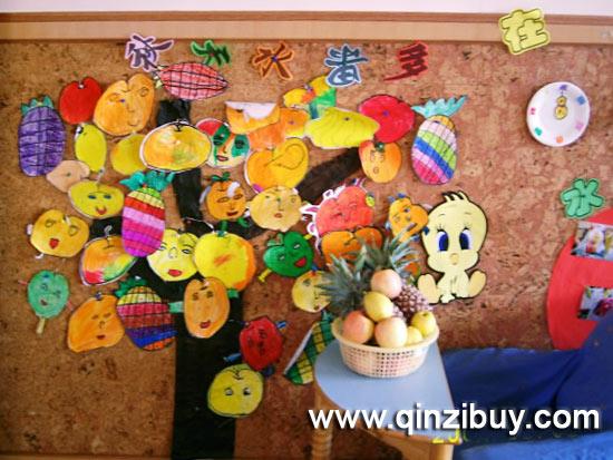 幼儿园水果蔬菜环境创设图片_手工蔬菜水果制作品