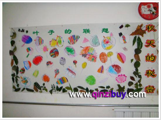 幼儿园秋天主题墙布置:秋叶的联想