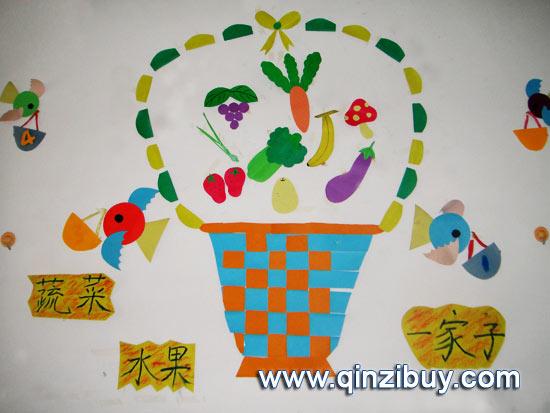 幼儿园主题墙:蔬菜水果一家子—幼儿园环境布置图片