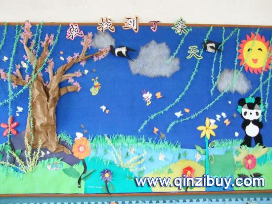 我找;; 幼儿园图片_幼儿园中班墙面布; 幼儿园春天环境布置