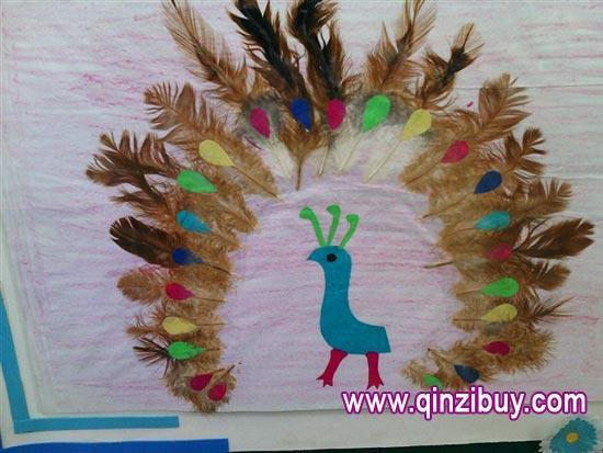 幼儿园主题墙环境布置:孔雀翎—幼儿园环境布置图片