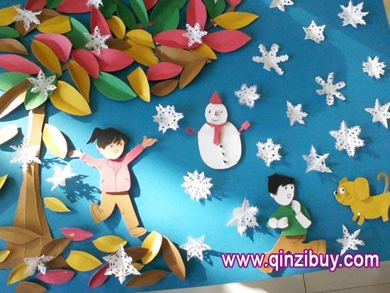 幼儿园主题墙环境布置:快乐迎雪—幼儿园环境布置