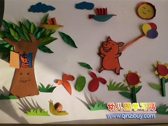 主题墙布置:小猪玩气球—幼儿园环境布置图片