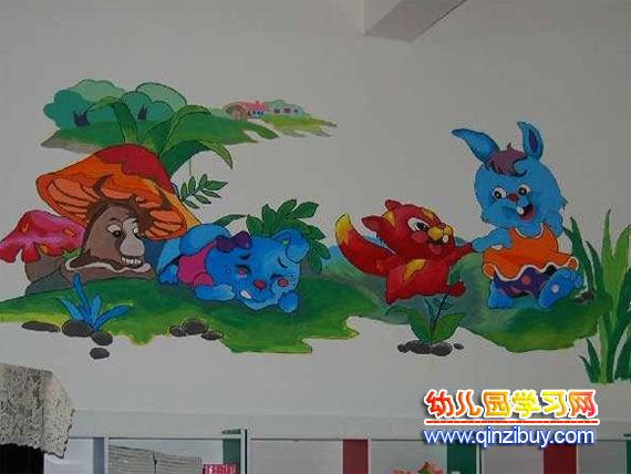 幼儿园主题墙:兔子采蘑菇