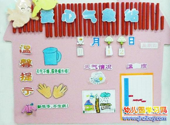 幼儿园科学墙_幼儿园墙面布置:爱心气象站—幼儿园环境布置图片