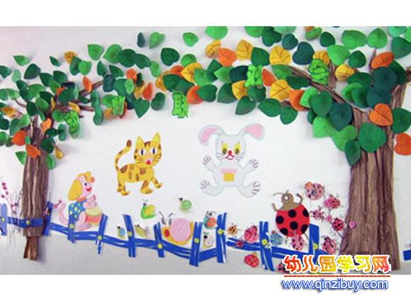 幼儿园墙面布置:动物的家—幼儿园环境布置图片