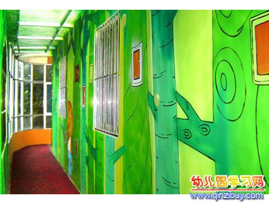 绿色童话│幼儿园走廊布置图片—幼儿园环境布置图片