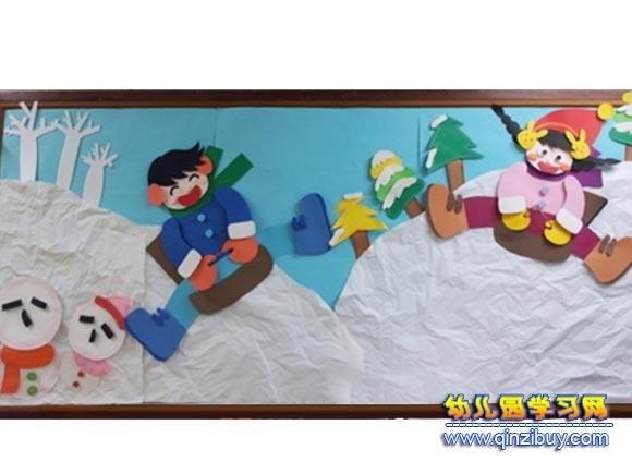 玩雪的小孩│幼儿园冬天环境布置图片