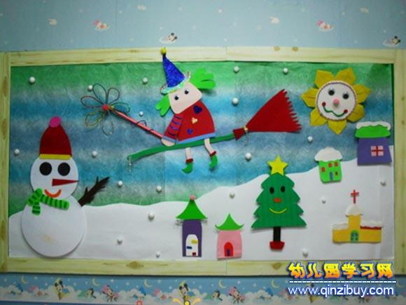 堆雪人│幼儿园冬天环境布置图片