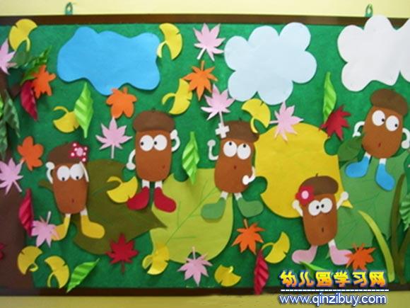 幼儿园欧式建筑区墙面环创