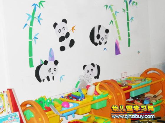 幼儿园墙面环境图片:大熊猫爱竹子—幼儿园环境布置