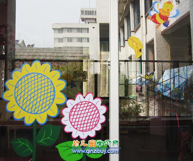 向日葵_幼儿园窗饰布置设计—幼儿园环境布置图片