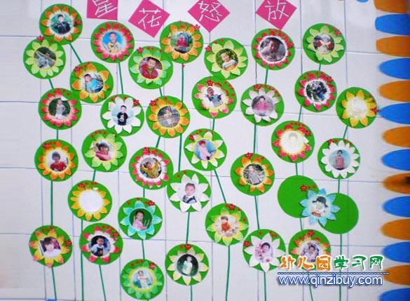 幼儿照片墙星花怒放_幼儿园墙面布置图片图片