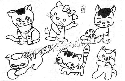 六只可爱的小猫 家猫 儿童简笔画图片大全