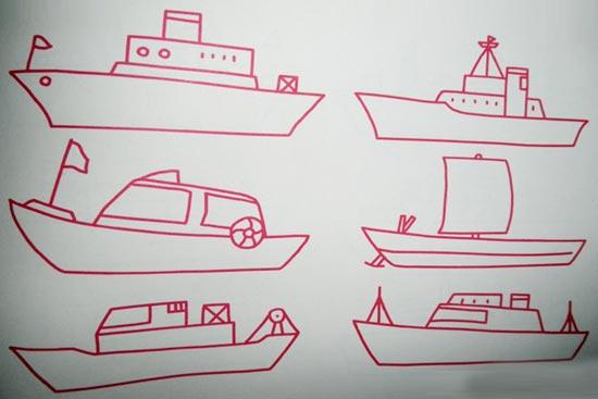 幼儿园交通工具简笔画:舰艇;;嘉盛小学常平图片