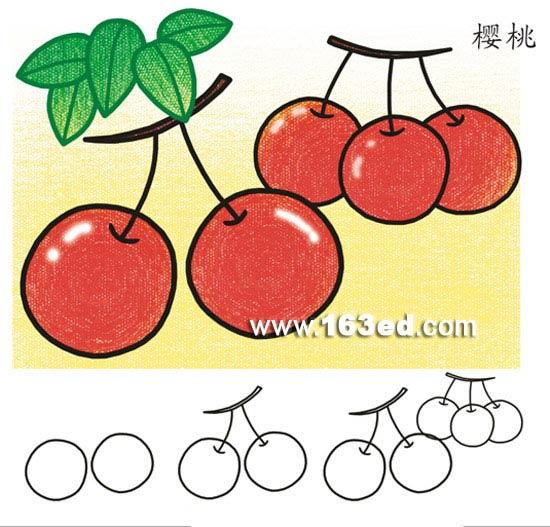 水果简笔画:樱桃—幼儿园教案网