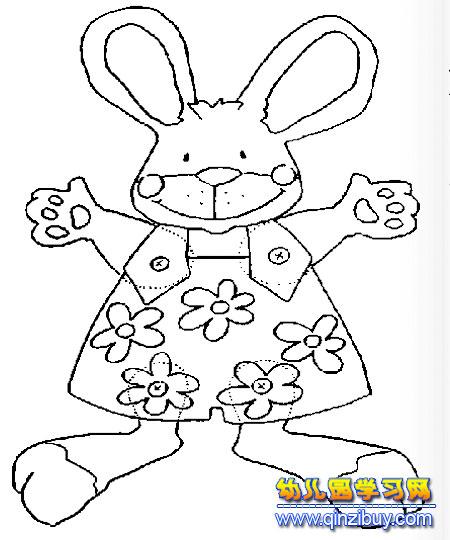 小兔子穿花衣的简笔画—幼儿园教案网