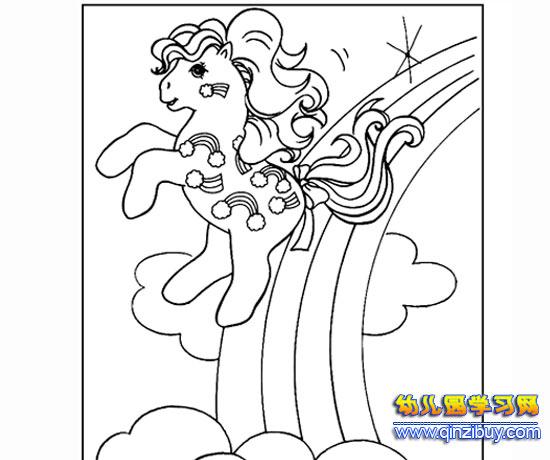 小马在玩耍的简笔画—幼儿园教案网