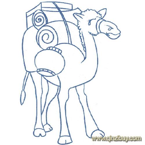 动物简笔画 背东西的骆驼1