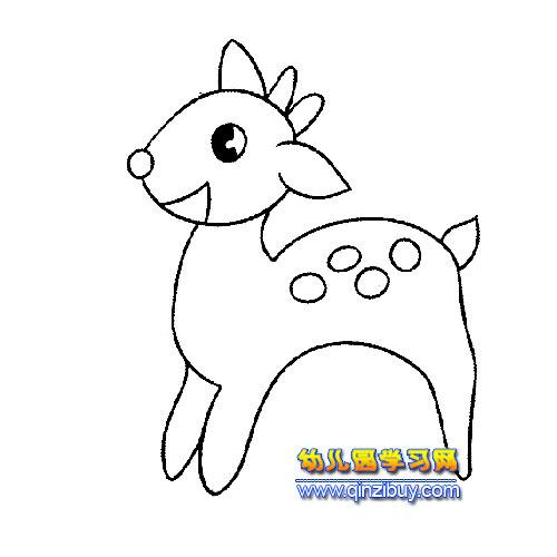 高兴的小鹿简笔画—幼儿园学习网