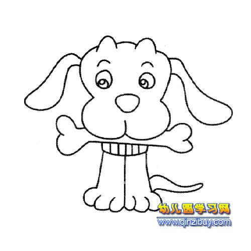 吃骨头的小狗简笔画1