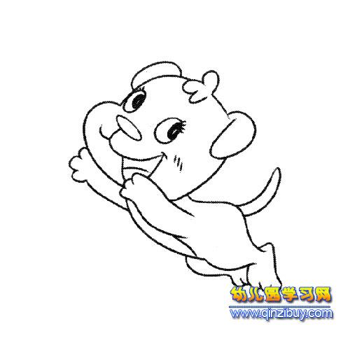 跳跃的小狗简笔画