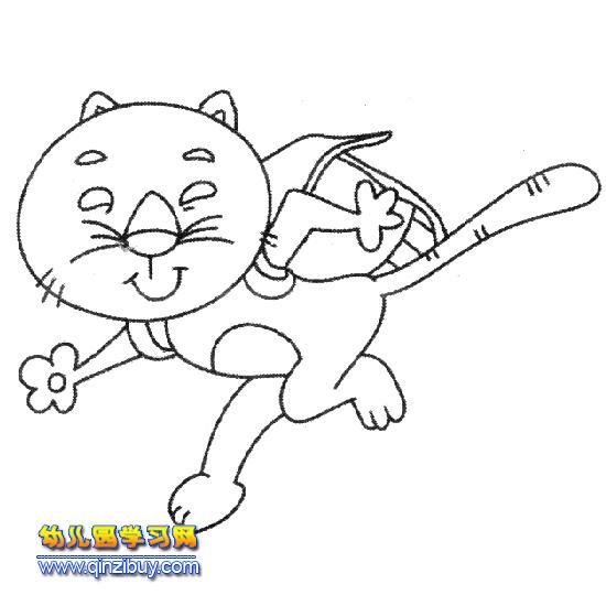 背书包的小猫简笔画—幼儿园教