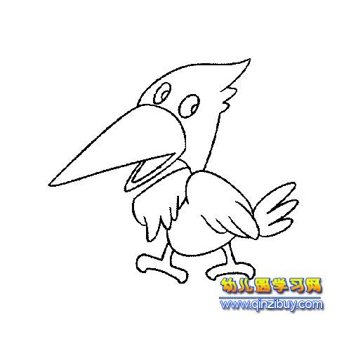 大嘴巴啄木鸟简笔画2—幼儿园教案网