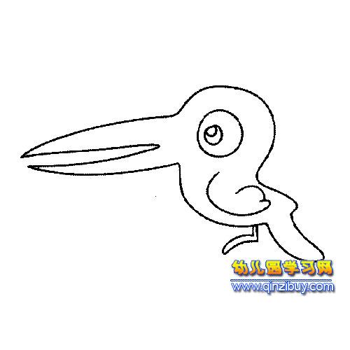 简笔画:大嘴啄木鸟—幼儿园教案网