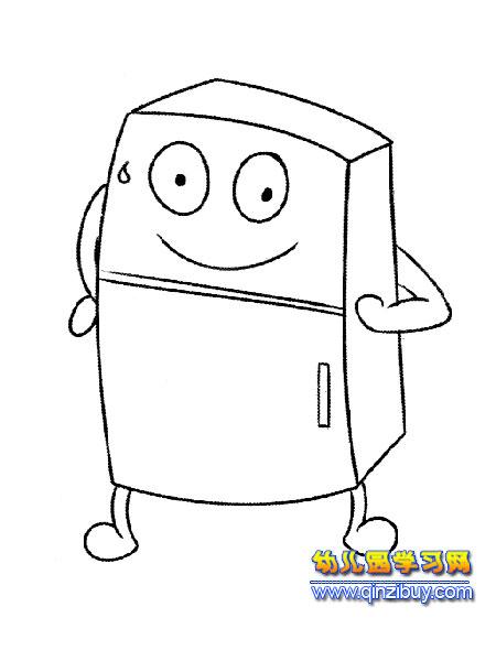 卡通冰箱彩色简笔画内容图片展示