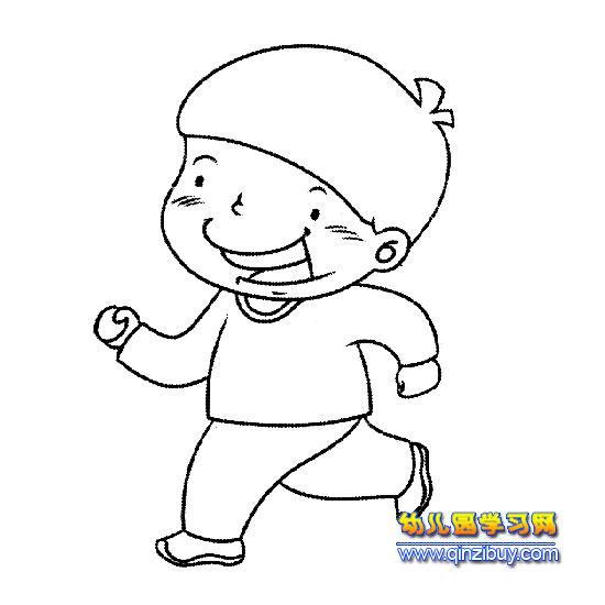 奔跑的小男孩简笔画—幼儿园教案网