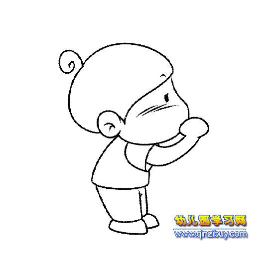 吹泡泡的男孩简笔画—幼儿园教案网